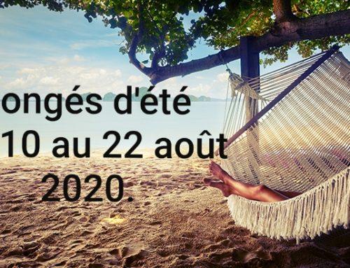Congés d'été 2020.